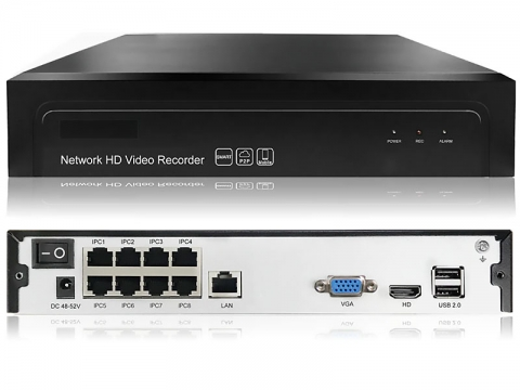 5 Мп IP 8-ми канальный POE видеорегистратор H.265 Onvif P2P G.Ccraftsman GC-NVR-A01S008P-C1